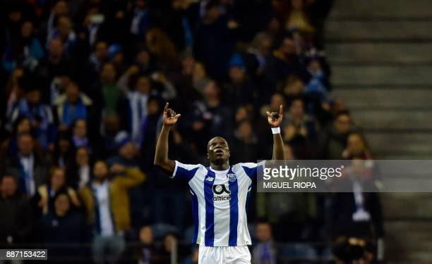 Porto's Cameroonian forward Vincent Aboubakar celebrates after scoring a goal during their UEFA Champions League group G football match FC Porto vs...