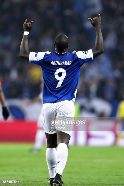 Porto's Cameroonian forward Vincent Aboubakar celebrates after scoring a goal during the UEFA Champions League Group G match between FC Porto and AS...