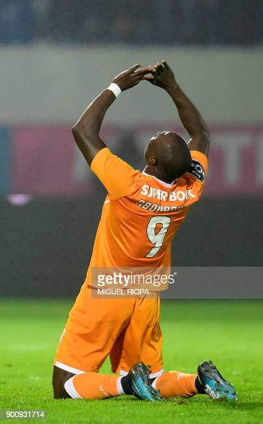 Porto's Cameroonian forward Vincent Aboubakar celebrates after scoring a goal during the Portuguese league football match CD Feirense vs FC Porto at...