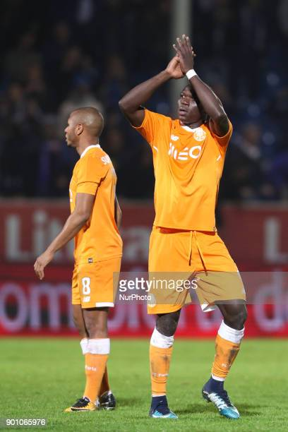 Porto's Cameroonian forward Vincent Aboubakar celebrates after scoring a goal during the Premier League 2016/17 match between CD Feirense and FC...