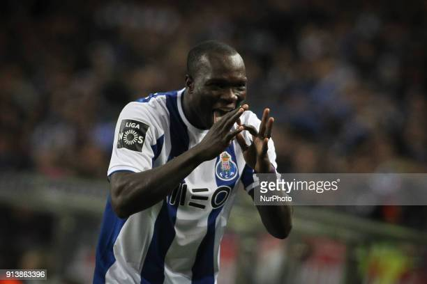 Porto's Cameroonian forward Vincent Aboubakar celebrates after scoring goalc during the Portuguese League 2017/18 match between FC Porto and SC Braga...