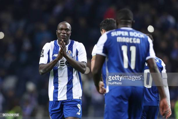 Porto's Cameroonian forward Vincent Aboubakar celebrates the goal with Porto's Malian forward Moussa Marega during the Premier League 2017/18 match...