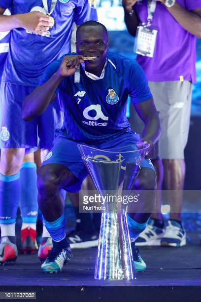 Porto's Cameroonian forward Vincent Aboubakar celebrating after wining the Candido Oliveira Super Cup match between FC Porto and CD Aves at Municipal...
