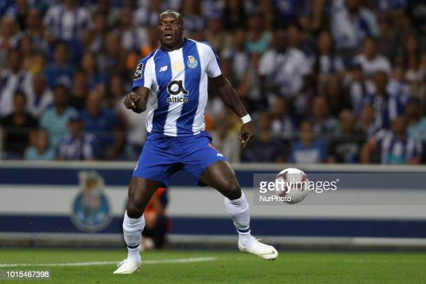 Porto's Cameroonian forward Vincent Aboubakar in action during the Premier League 2018/19 match between FC Porto and GD Chaves at Dragao Stadium in...