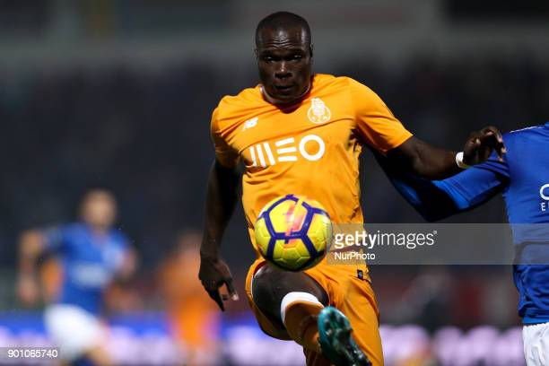 Porto's Cameroonian forward Vincent Aboubakar in action during the Premier League 2016/17 match between CD Feirense and FC Porto at Marcolino de...