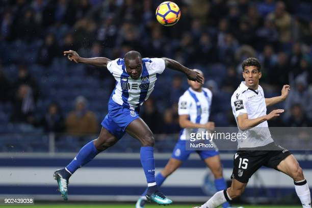 Porto's Cameroonian forward Vincent Aboubakar in action during the Premier League 2017/18 match between FC Porto and Vitoria SC at Dragao Stadium in...