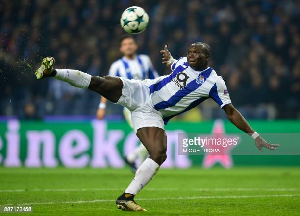 Porto's Cameroonian forward Vincent Aboubakar kicks the ball during their UEFA Champions League group G football match FC Porto vs Monaco at the...