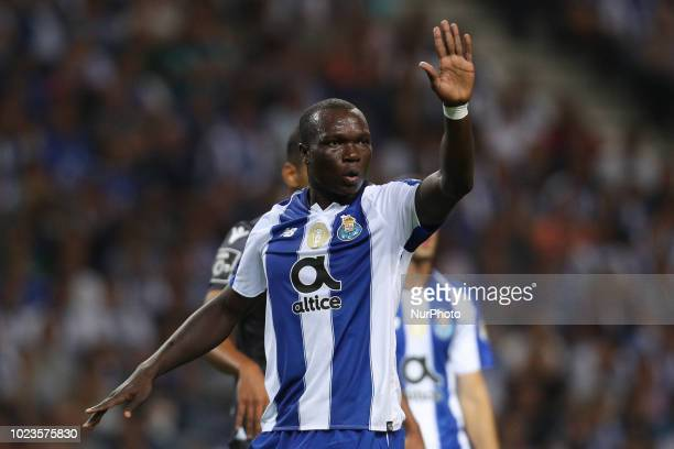 Porto's Cameroonian forward Vincent Aboubakar reacts during the Premier League 2018/19 match between FC Porto and Vitoria SC at Dragao Stadium in...