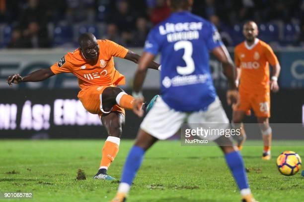 Porto's Cameroonian forward Vincent Aboubakar score a goal during the Premier League 2016/17 match between CD Feirense and FC Porto at Marcolino de...