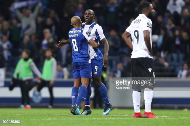 Porto's Cameroonian forward Vincent Aboubakar score celebrates after scoring a goal during the Premier League 2017/18 match between FC Porto and...