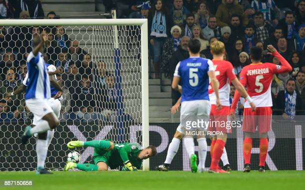 Porto's Cameroonian forward Vincent Aboubakar scores the opening goal during their UEFA Champions League group G football match FC Porto vs Monaco at...