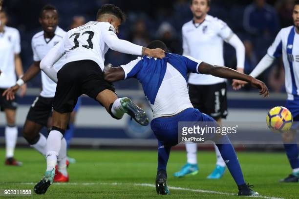 Porto's Cameroonian forward Vincent Aboubakar suffer a penalty with Jubal of Vitoria SC during the Premier League 2017/18 match between FC Porto and...