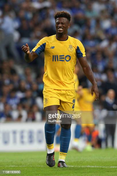 Portos Cape Verdean forward Ze Luis reacts during the presentation of the Porto FC players before the Preseason friendly match between FC Porto and...