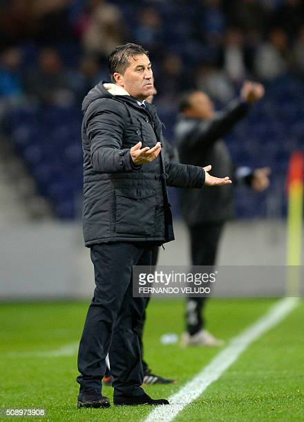 Porto's coach Jose Peseiro gestures from the sideline during the Portuguese League football match FC Porto vs FC Arouca at the Dragao stadium in...
