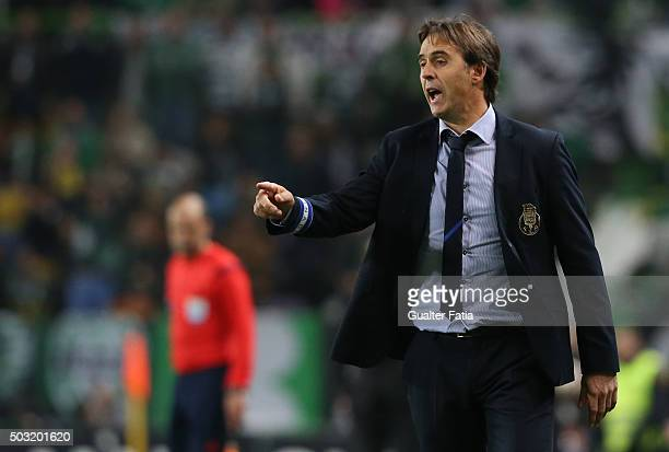 Porto's coach Julen Lopetegui in action during the Primeira Liga match between Sporting CP and FC Porto at Estadio Jose Alvalade on January 2 2016 in...