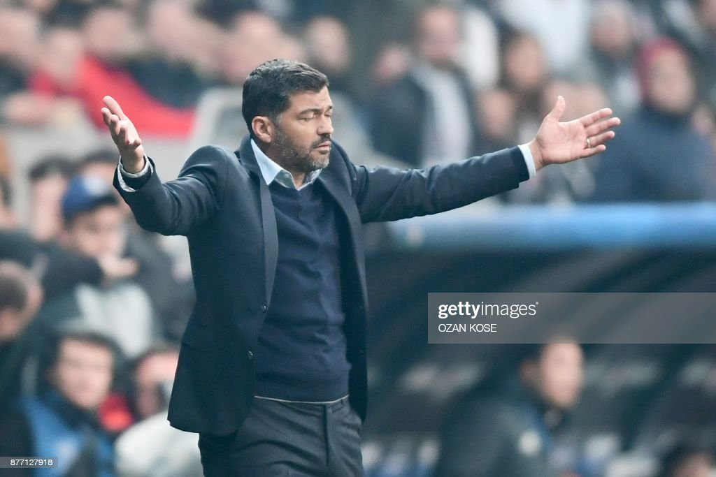 Porto's coach Sergio Conceicao gestures during the UEFA Champions League Group G football match between Besiktas JK and FC Porto on November 21, 2017 at the Vodafone Park in Istanbul. Turkish champions Besiktas reached the Champions League last 16 for the first time in 31 years, as a 1-1 draw with Porto in Istanbul wrapped up top spot in Group G. /