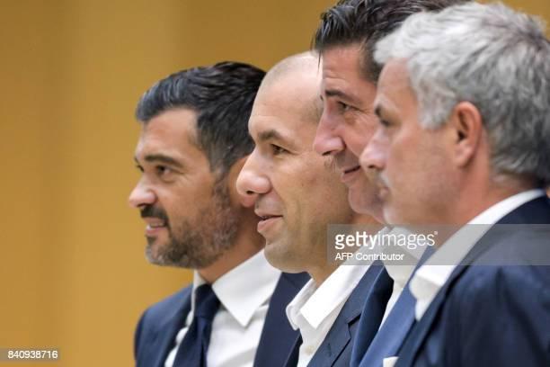 Porto's coach Sergio Conceicao Monaco's coach Leonardo Jardim Benfica coach Rui Vitoria and Manchester United manager Jose Mourinho all from Portugal...