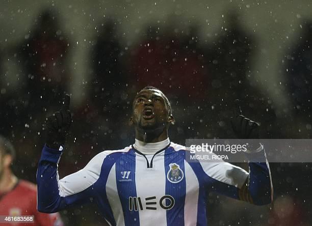 Porto's Colombian forward Jackson Martinez celebrates after scoring a goal during the Portuguese liga football match FC Penafiel vs FC Porto at the...