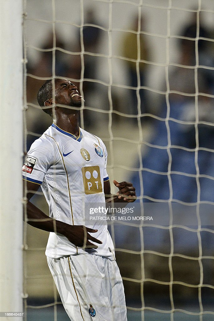 FC Porto's Colombian forward Jackson Martinez reacts after missing a goal opportunity during the Portuguese league football match Belenses vs FC Porto at Restelo stadium in Lisbon on November 2, 2013.