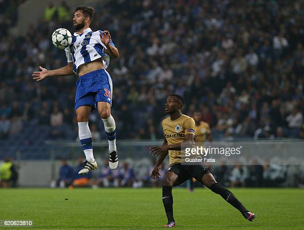 Porto's defender from Brazil Felipe with Club Brugge KV's defender Boli Bolingoli in action during the UEFA Champions League match between FC Porto...