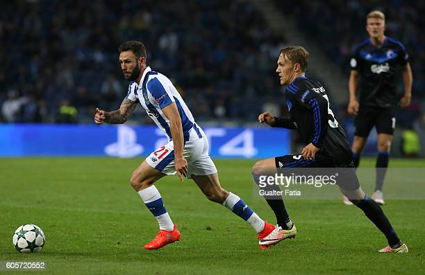 PortoÕs defender from Mexico Miguel Layun with FC Copenhagen«s defender Ludwig Augustinsson in action during the UEFA Champions League match between...
