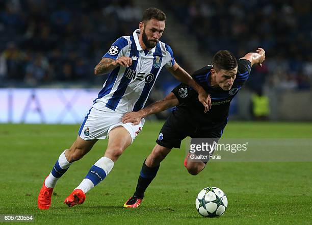 PortoÕs defender from Mexico Miguel Layun with FC Copenhagen«s midfielder Benjamin Verbic in action during the UEFA Champions League match between FC...