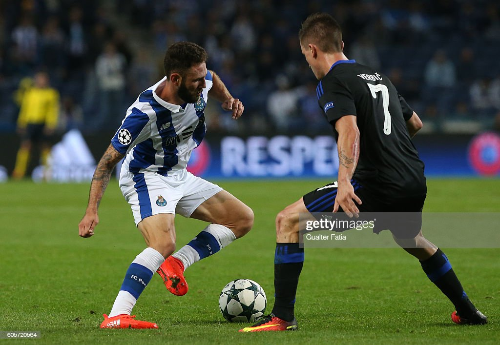 FC PortoÕs defender from Mexico Miguel Layun (L) with FC Copenhagen«s midfielder Benjamin Verbic (R) in action during the UEFA Champions League match between FC Porto and FC Copenhagen at Estadio do Dragao on September 14, 2016 in Porto, Portugal.