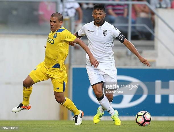 PortoÕs defender from Uruguay Maxi Pereira with Guimaraes's midfielder Moreno in action during the Guimaraes City Trophy match between Vitoria de...