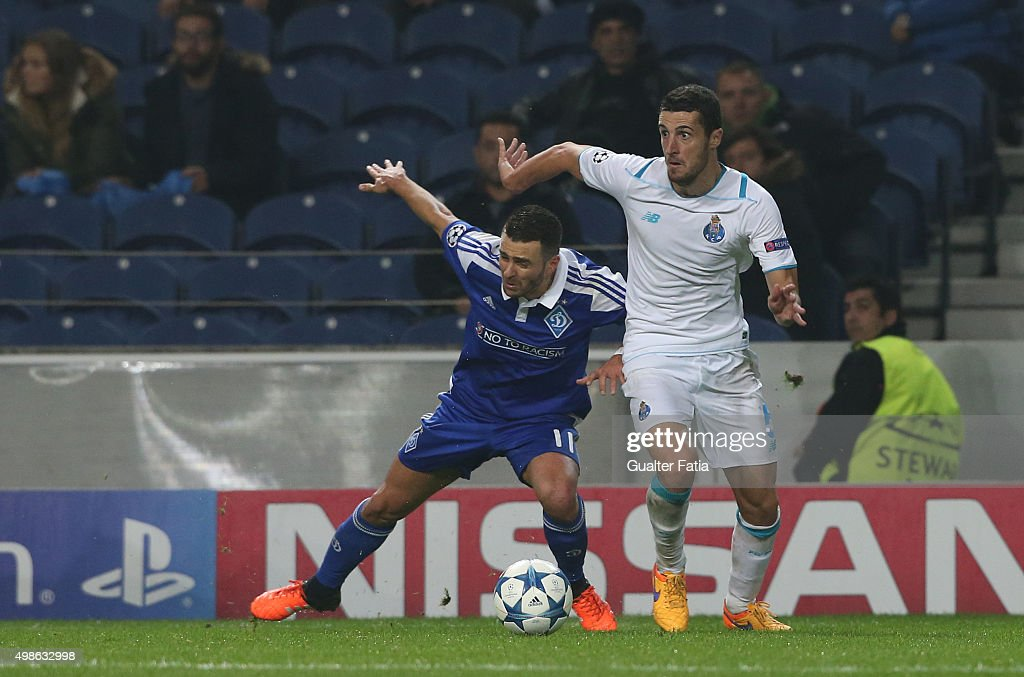 FC PortoÕs defender Ivan Marcano with FC Dynamo KyivÕs forward Junior Moraes in action during the UEFA Champions League match between FC Porto and FC Dynamo Kyiv at Estadio do Dragao on November 24, 2015 in Porto, Portugal.
