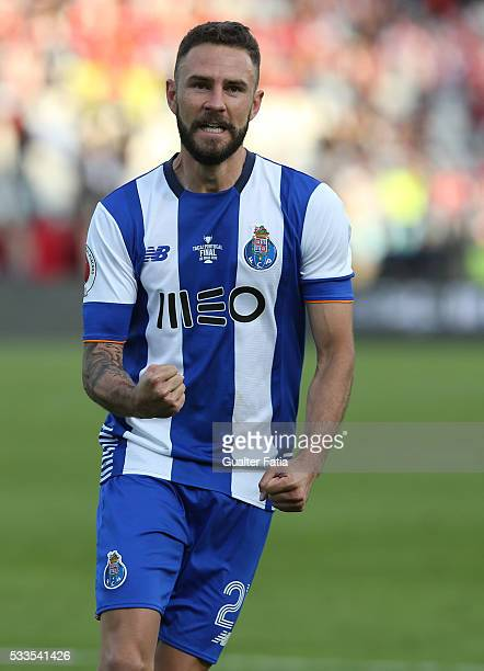 Porto's defender Miguel Layun celebrates after scoring a penalty in the penalty shootout during the Portuguese Cup Final match between FC Porto and...