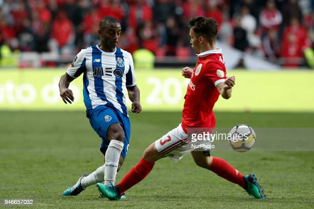 Porto's defender Ricardo Pereira vies for the ball with Benfica's defender Alejandro Grimaldo during Primeira Liga 2017/18 match between SL Benfica...