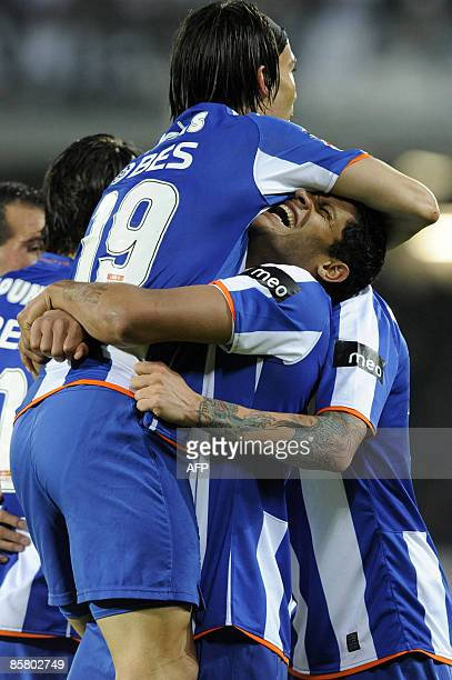 FC Porto's Ernesto Farias is hugged by teammate 'Hulk' Sousa after scoring against Vitoria de Guimaraes during their Portuguese Liga football match...