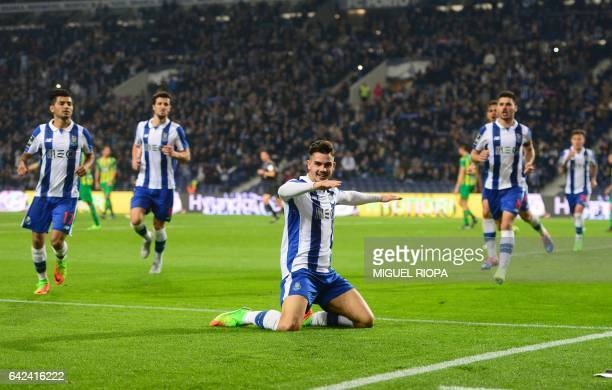 Porto's forward Andre Silva celebrates after scoring the opening goal during the Portuguese league football match FC Porto vs CD Tondela at the...