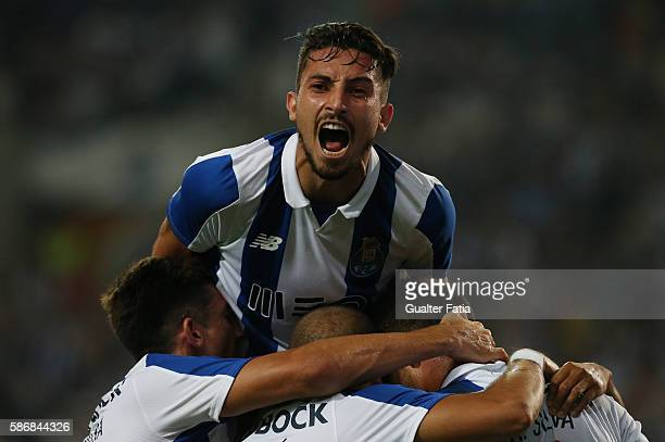 PortoÕs forward Andre Silva celebrates with teammates after scoring a goal during the PreSeason Friendly match between FC Porto and Villarreal FC at...