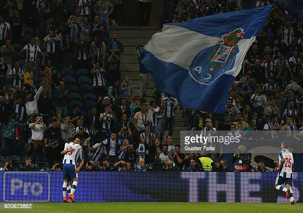 Porto's forward Andre Silva celebrates with teammates after scoring a goal during the UEFA Champions League match between FC Porto and Club Brugge KV...