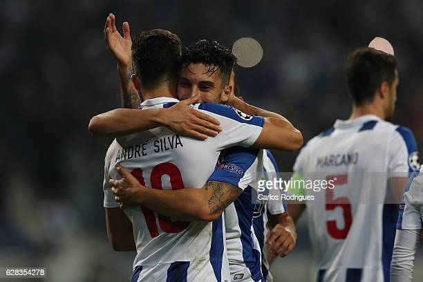 Porto's forward Andre Silva from Portugal celebrates scoring Porto fourth goal with FC Porto's defender Alex Telles from Brazil during the match...