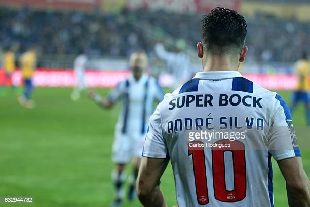 Porto's forward Andre Silva from Portugal celebrates scoring Porto first goal during the match between Estoril Praia SAD and FC Porto for the...