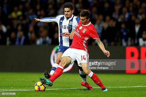 PortoÕs forward Andre Silva from Portugal vies with Benfica's defender Victor NilssonLindelof during the FC Porto v SL Benfica Primeira Liga match at...