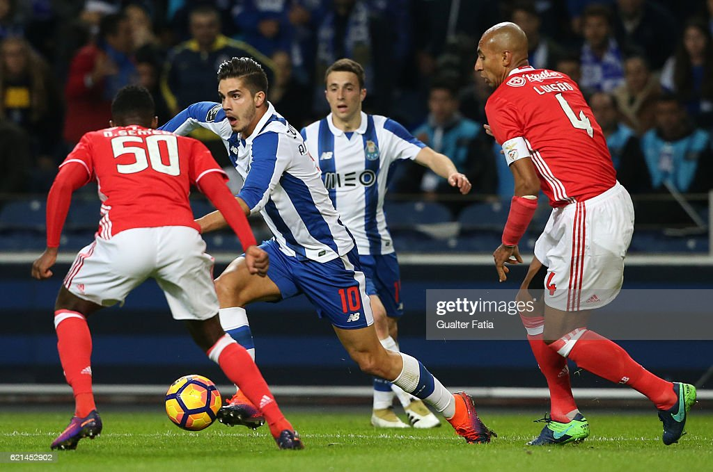 FC PortoÕs forward Andre Silva in action during the Primeira Liga match between FC Porto and SL Benfica at Estadio do Dragao on November 6, 2016 in Porto, Portugal.
