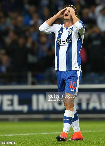 Porto's forward Andre Silva reaction after missing a goal opportunity during the Primeira Liga match between FC Porto and SL Benfica at Estadio do...