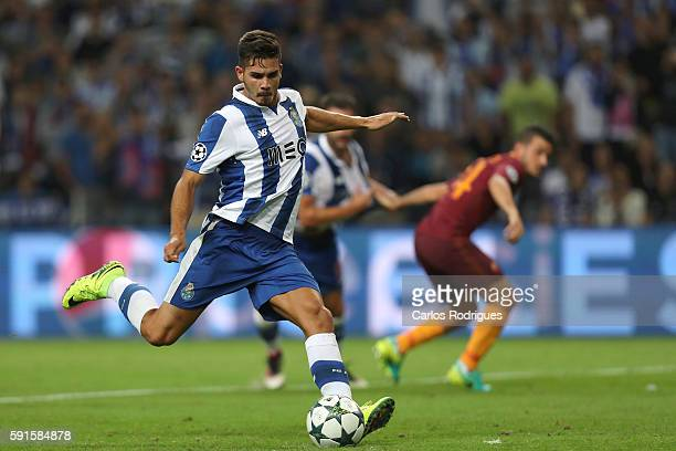 Porto's forward Andre Silva scores Porto goal during the match between FC Porto v AS Rome UEFA Champions League playoff match at Estadio do Dragao on...