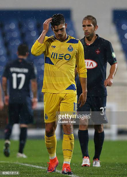 Porto's forward Andre Silva section after missing a goal opportunity during the Primeira Liga match between Os Belenenses and FC Porto at Estadio do...