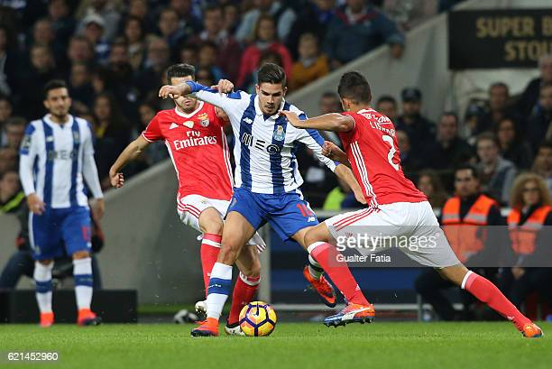 PortoÕs forward Andre Silva with SL BenficaÕs midfielder Pizzi and SL BenficaÕs defender from Argentina Lisandro Lopez in action during the Primeira...