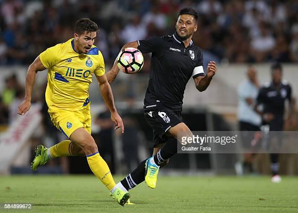 Porto's forward Andre Silva with Vitoria Guimaraes' defender Moreno in action during the Guimaraes City Trophy match between Vitoria de Guimaraes and...