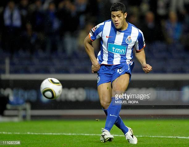 FC Porto's forward from Brazil Givanildo de Souza Hulk kicks the ball to score a goal against Naval during their Portuguese super league football...