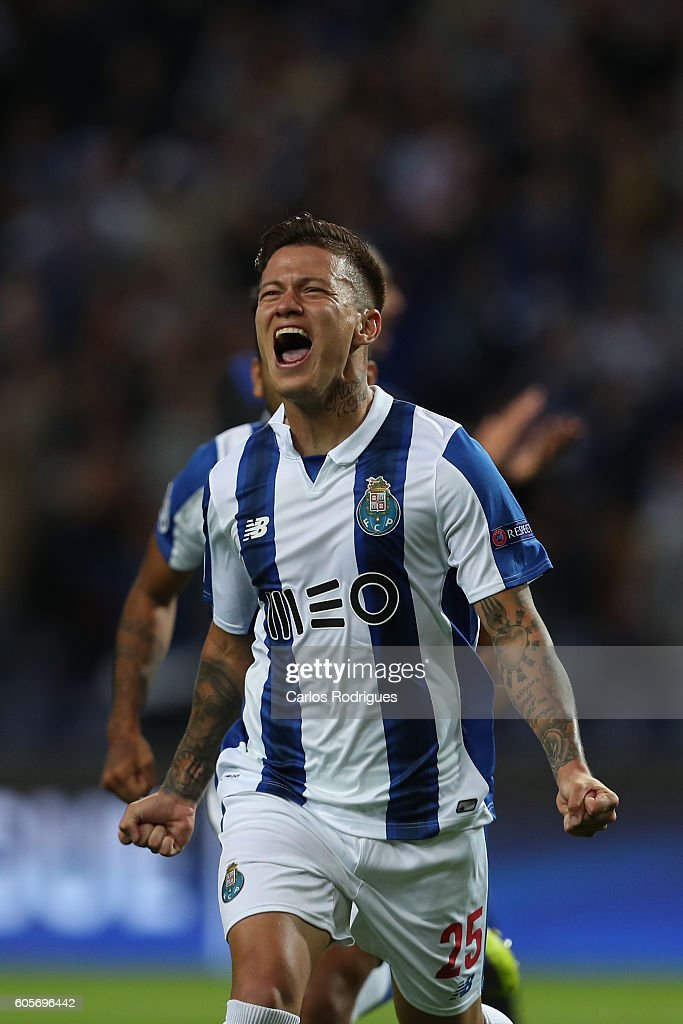 FC Porto's forward from Brazil Otavio celebrates scoring Porto's goal during the UEFA Champions League match between FC Porto and FC Copenhagen at Estadio do Dragao on September 14, 2016 in Lisbon, Portugal.