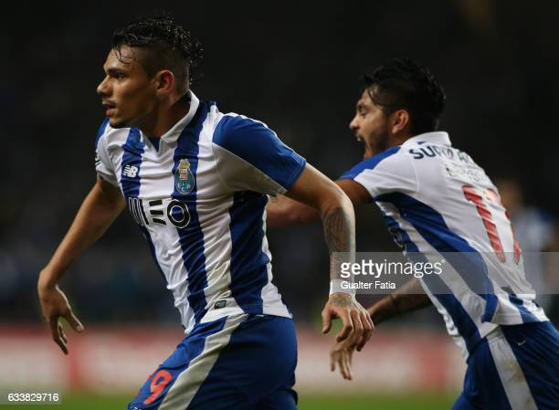 Porto's forward from Brazil Soares celebrates after scoring a goal during the Primeira Liga match between FC Porto and Sporting CP at Estadio do...
