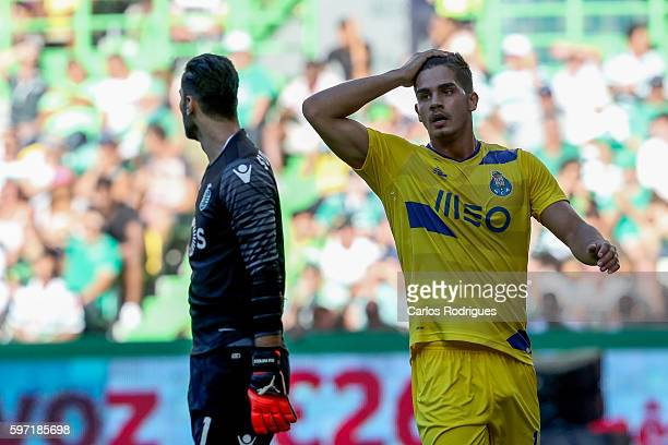 Porto's forward from Portugal Andre Silva during the Portuguese Primeira Liga between Sporting CP and FC Porto at Estadio Jose Alvalade on August 28...