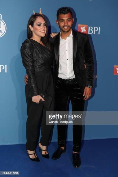 Porto's forward Jesus Corona from Mexico and wife Melissa Rivas attends FC Porto Gala Dragoes de Ouro 2016 2017 at Dragao Caixa on October 25 2017 in...