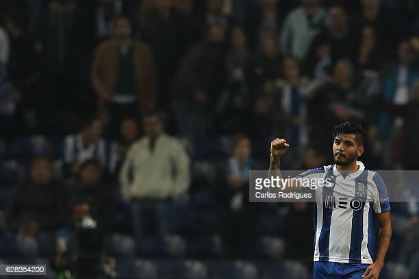 Porto's forward Jesus Corona from Mexico from Portugal celebrates scoring Porto second goal during the match between FC Porto v Leicester City FC...